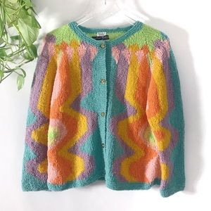 {VINTAGE} Colorful Wavy Hand Knitted Cardigan